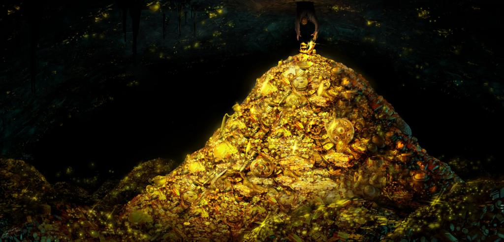 Золотое сокровище под водой.