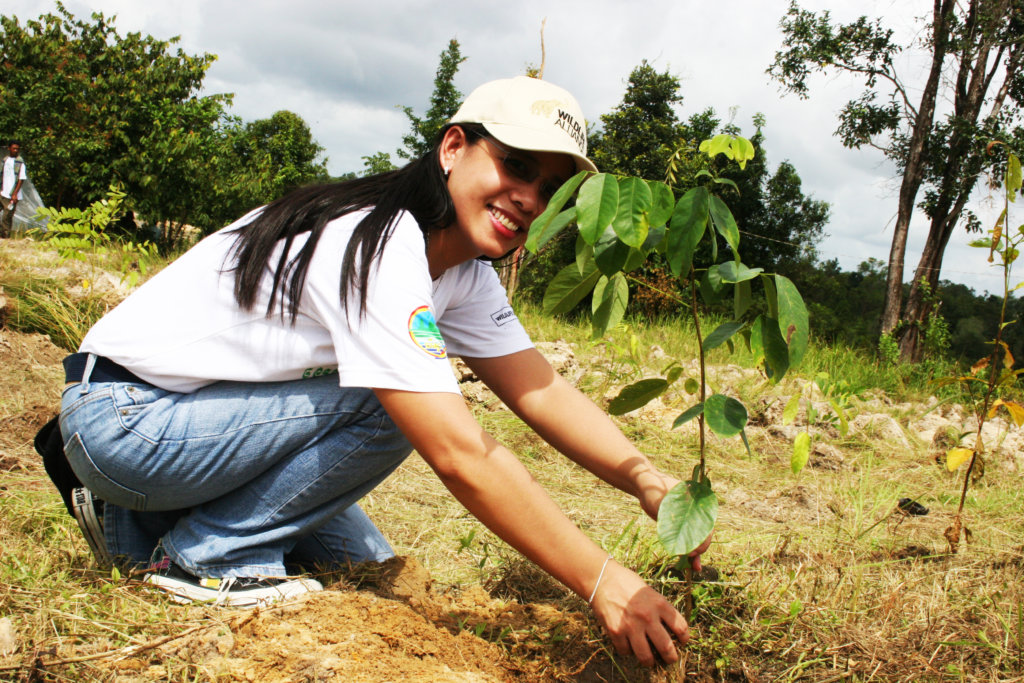 женщина, сажающая дерево