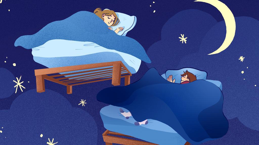 Молодая пара видит сны.